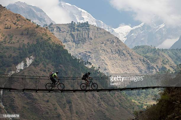 kali gandaki suspension bridge, nepal - annapurna conservation area stock photos and pictures
