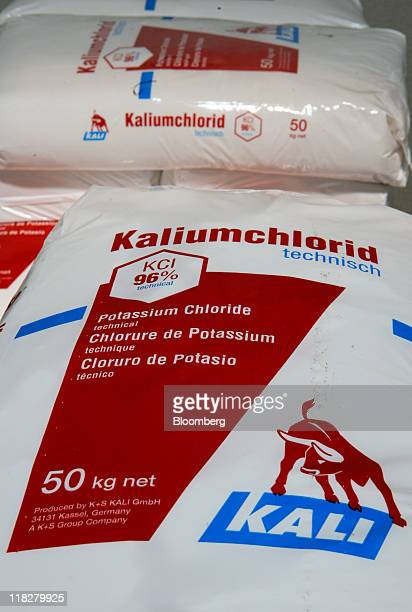 KS Kali GmbH branded sacks of potassium chloride also known as potash are seen stacked at the company's warehouse in Bebra Germany on Tuesday July 5...