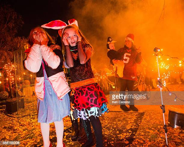 Kali Gustafson left and her friend Skye Carraway right in bunny ears visit a house along with other trick or treaters in Williston ND Oct 31 2013...
