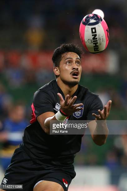 Kali Hala of the Dragons catches the ball during the Rapid Rugby match between the Western Force and the Asia Pacific Dragons at HBF Stadium on April...