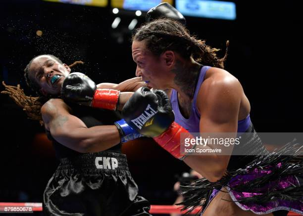 Kali Reis takes on Tiffany Woodard in a Middleweight bout on November 25 2017 at the Mohegan Sun Arena in Uncasville Connecticut Kali Reis defeats...