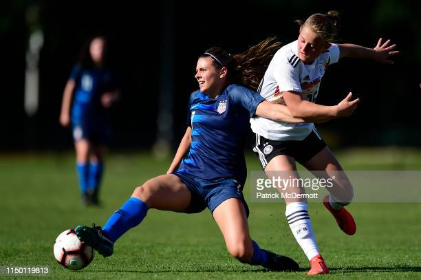 Kali Trevithick of the United States controls the ball against Leonie Koster of Germany in the second half during an International Friendly on June...