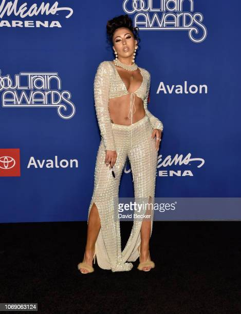 Kali Uchis attends the 2018 Soul Train Awards at the Orleans Arena on November 17 2018 in Las Vegas Nevada