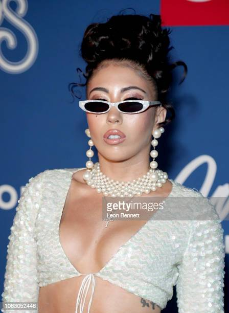 Kali Uchis attends the 2018 Soul Train Awards presented by BET at the Orleans Arena on November 17 2018 in Las Vegas Nevada
