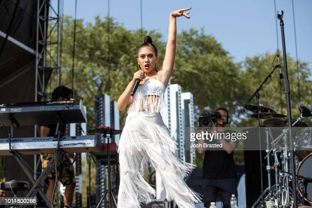 Kali Uchis performs during Lollapalooza 2018 at Grant Park on August 5 2018 in Chicago Illinois