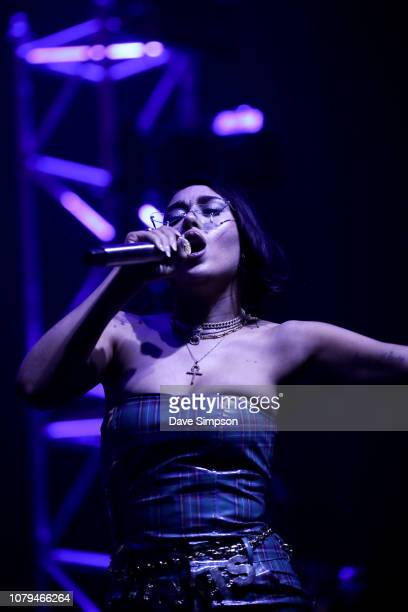 Kali Uchis performs on stage during FOMO By Night Festival at Spark Arena on January 9 2019 in Auckland New Zealand