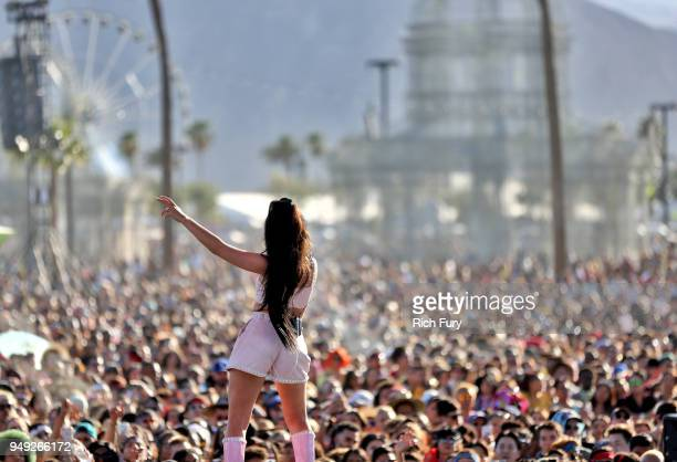 Kali Uchis performs onstage during the 2018 Coachella Valley Music And Arts Festival at the Empire Polo Field on April 20 2018 in Indio California