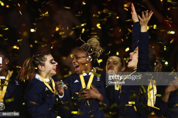 Kalidiatou Niakate of France celebrate after the IHF Women's Handball World Championship final match between France and Norway at Barclaycard Arena...