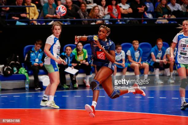 Kalidiatou Niakate of France is shooting the ball during the Tournoi Razel Bec match between France and Slovenia at Salle Pierre de Coubertin on...