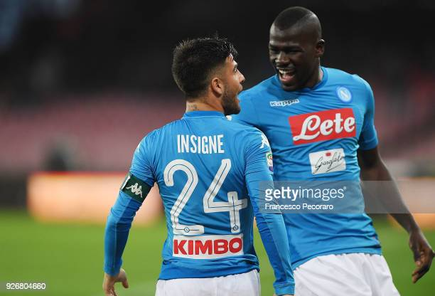 Kalidou Koulibaly and Lorenzo Insigne of SSC Napoli celebrate the 10 goal scored by Lorenzo Insigne during the serie A match between SSC Napoli and...