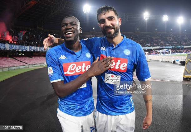 Kalidou Koulibaly and Raul Albiol players of SSC Napoli celebrate the victory after the Serie A match between SSC Napoli and Spal at Stadio San Paolo...