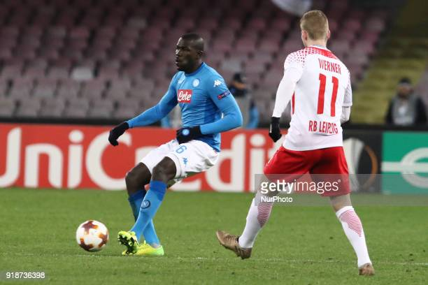 Kalidou Koulibaly during the Europe Ligue football SSC Napoli v RB Leipzing at S Paolo Stadium in Naples on February 15 2018