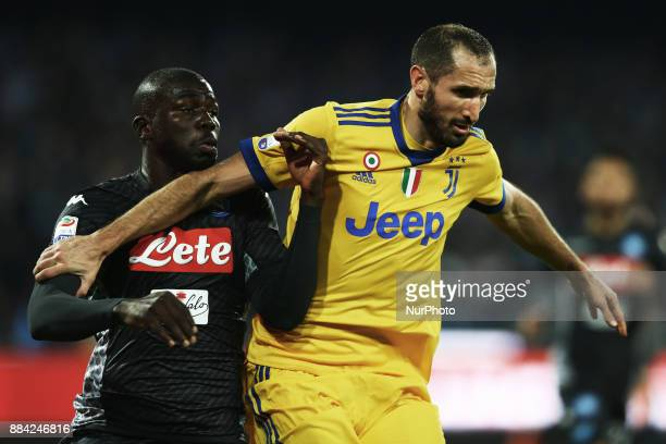 Kalidou Koulibaly of Napoli and Giorgio Chiellini of Juventus during the Serie A match between SSC Napoli and Juventus at Stadio San Paolo on...