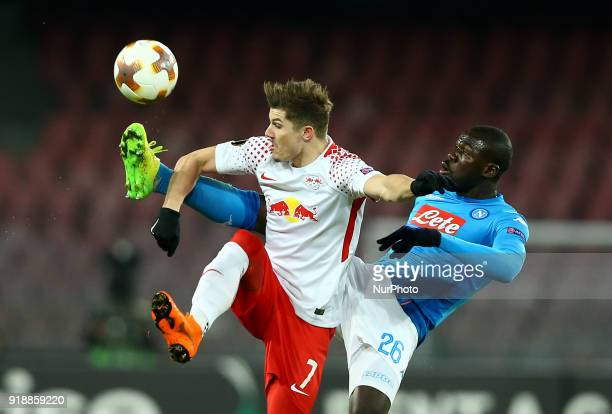 Kalidou Koulibaly of Napoli and Marcel Sabitzer of RB Leipzig during UEFA Europa League Round of 32 match between Napoli and RB Leipzig at the Stadio...