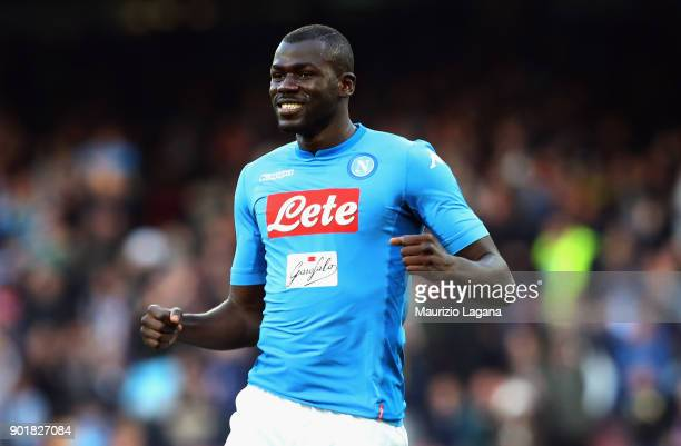 Kalidou Koulibaly of Napoli celebrates after scoring his team's opening goal during the serie A match between SSC Napoli and Hellas Verona FC at...