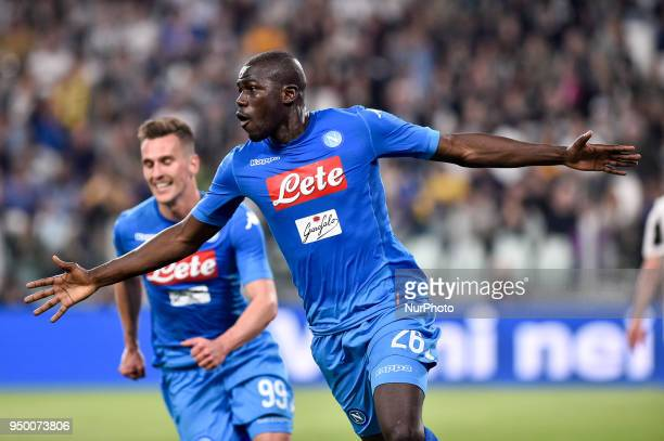 Kalidou Koulibaly of Napoli celebrates scoring the winning goal during the Serie A match between Juventus and Napoli at Allianz Stadium Turin Italy...