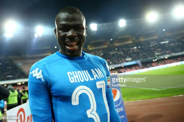 Kalidou Koulibaly of Napoli celebrates with a shirt in honor of Faouzi Ghoulam injured after the serie A match between SSC Napoli and SS Lazio at...