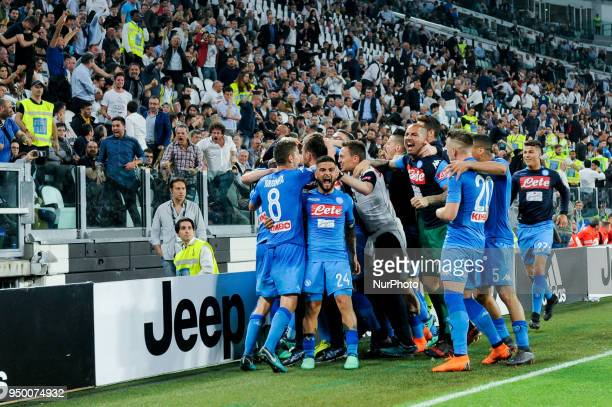 Kalidou Koulibaly of Napoli celebrates with his teammates scoring the winning goal during the Serie A match between Juventus and Napoli at Allianz...