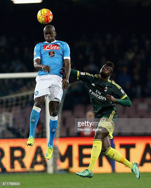 Kalidou Koulibaly of Napoli competes for the ball in air with M'Baye Niang of Milan during the Serie A between SSC Napoli and AC Milan at Stadio San...