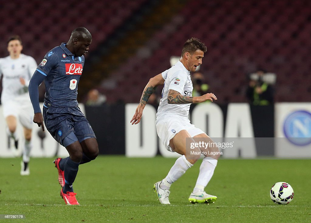 Kalidou Koulibaly of Napoli competes for the ball with German Denis of Atalanta during the Serie A match between SSC Napoli and Atalanta BC at Stadio San Paolo on March 22, 2015 in Naples, Italy.