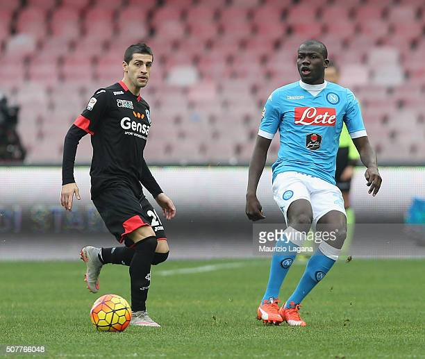 Kalidou Koulibaly of Napoli competes for the ball with Manuel Pucciarelli of Empoli during the Serie A match between SSC Napoli and Empoli FC at...