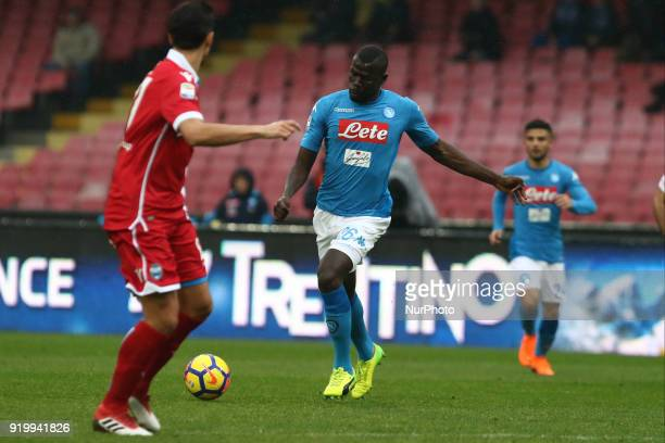 Kalidou Koulibaly of Napoli during the Italian Serie A football SSC Napoli v Spal at S Paolo Stadium in Naples on February 18 2018