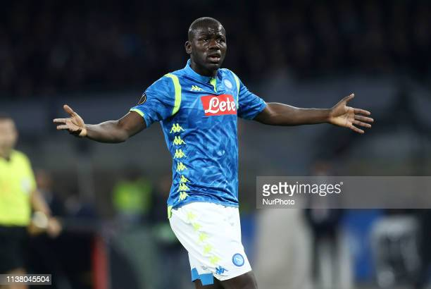 Kalidou Koulibaly of Napoli during the UEFA Europa League quarterfinals second leg football match SSC Napoli v Arsenal Fc at the San Paolo Stadium in...