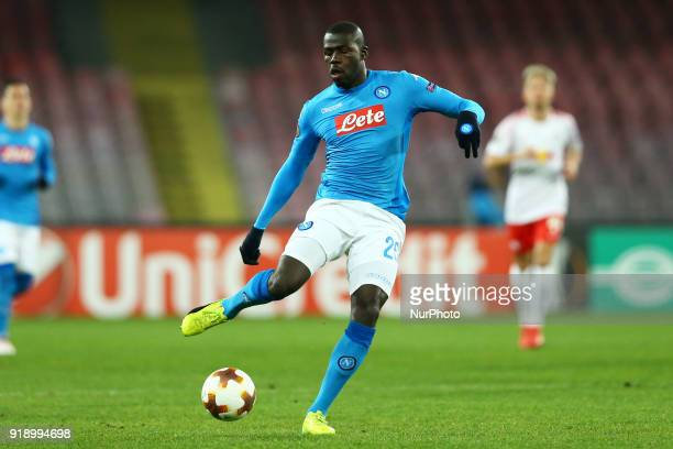 Kalidou Koulibaly of Napoli during UEFA Europa League Round of 32 match between Napoli and RB Leipzig at the Stadio San Paolo on February 15 2018 in...