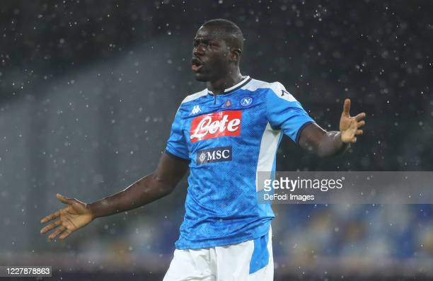 Kalidou Koulibaly of Napoli gestures during the Serie A match between SSC Napoli and SS Lazio at Stadio San Paolo on August 1, 2020 in Naples, Italy.