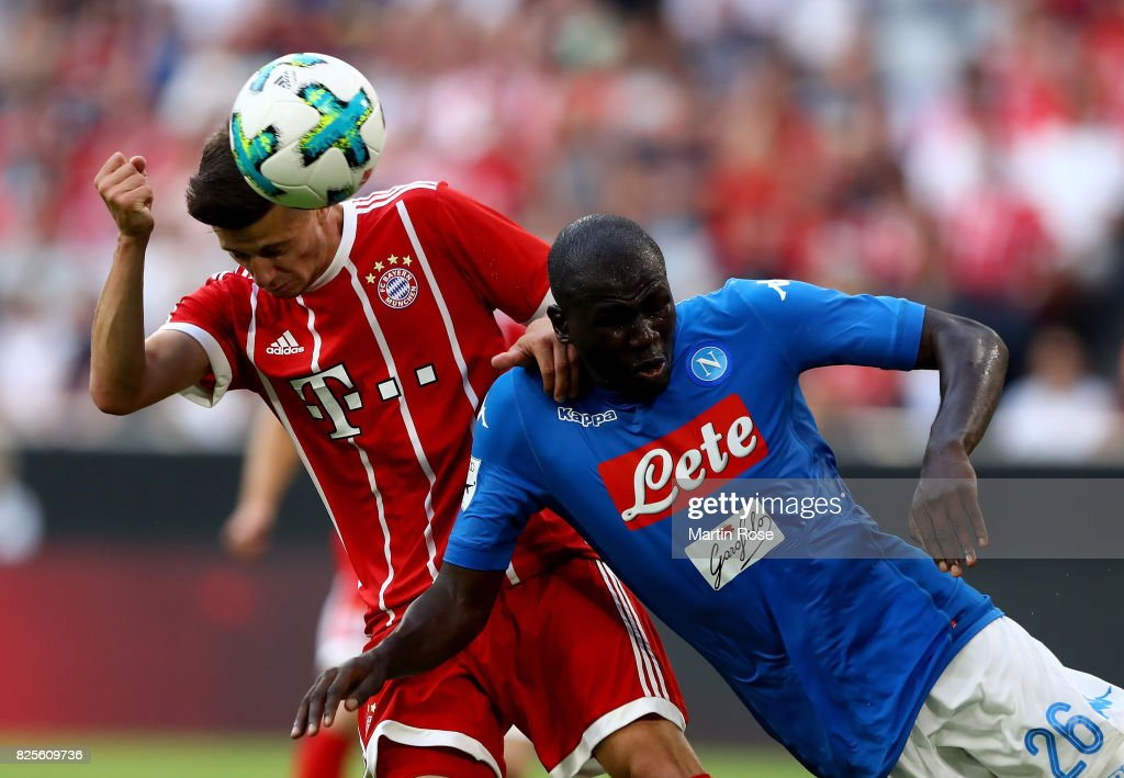 Kalidou Koulibaly (R) of Napoloi and Mario Crnicki of Muenchen battle for the ball during the Audi Cup 2017 match between SSC Napoli and FC Bayern Muenchen at Allianz Arena on August 2, 2017 in Munich, Germany.