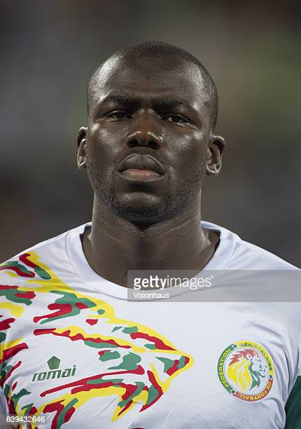 Kalidou Koulibaly of Senegal during the Group B match between Senegal and Zimbabwe at Stade Franceville on January 19 2017 in Franceville Gabon