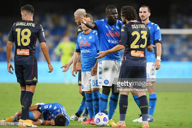 Kalidou Koulibaly of SSC Napoli arguing with Mattia Destro of Genoa CFC during the Serie A match between SSC Napoli and Genoa CFC at Stadio San Paolo...