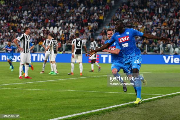 Kalidou Koulibaly of Ssc Napoli celebrate after scoring a goal during the Serie A football match between Juventus Fc and Ssc Napoli Ssc Napoli wins...