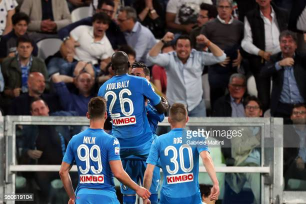 Kalidou Koulibaly of SSC Napoli celebrates after scoring a goal during the serie A match between Juventus and SSC Napoli on April 22 2018 in Turin...