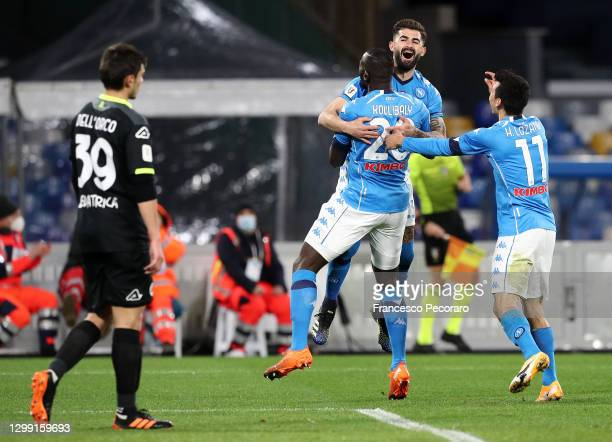 Kalidou Koulibaly of S.S.C. Napoli celebrates with his team mates after scoring his sides first goal during the Coppa Italia match between SSC Napoli...