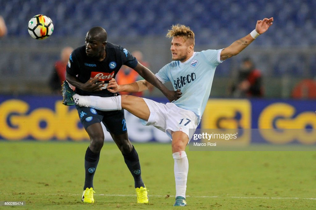 Kalidou Koulibaly of SSC Napoli compete for the ball with Ciro Immobile of SS Lazio during the Serie A match between SS Lazio and SSC Napoli at Stadio Olimpico on September 20, 2017 in Rome, Italy.