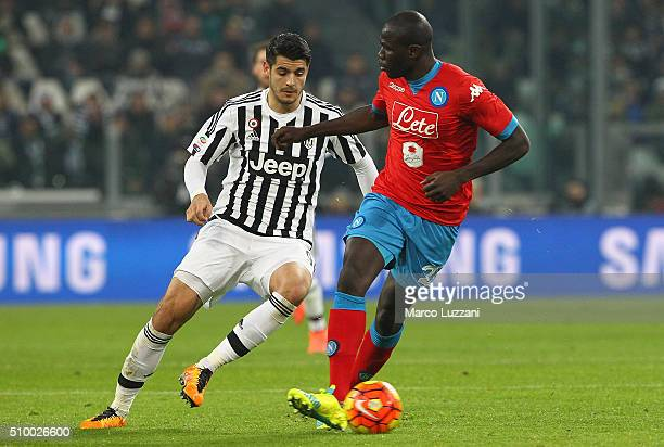 Kalidou Koulibaly of SSC Napoli competes for the ball with Alvaro Morata of Juventus FC during the Serie A match between and Juventus FC and SSC...