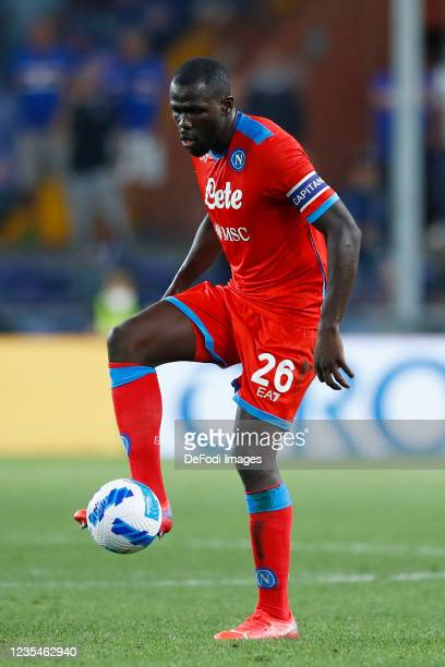 Kalidou Koulibaly of SSC Napoli controls the ball during the Serie A match between UC Sampdoria and SSC Napoli at Stadio Luigi Ferraris on September...