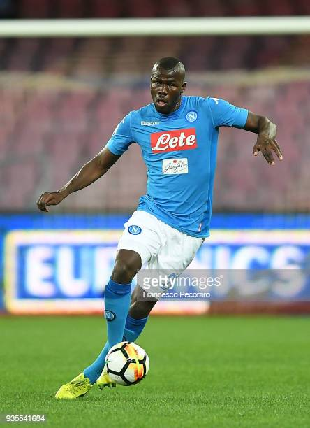 Kalidou Koulibaly of SSC Napoli drives the ball during the serie A match between SSC Napoli v Genoa CFC at Stadio San Paolo on March 18 2018 in...