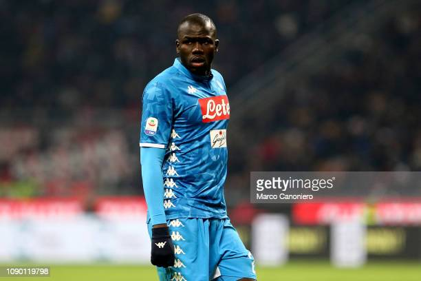 Kalidou Koulibaly of Ssc Napoli during the Serie A football match between Ac Milan and Ssc Napoli. The match end in a tie 0-0.