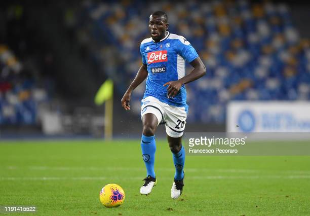 Kalidou Koulibaly of SSC Napoli during the Serie A match between SSC Napoli and Bologna FC at Stadio San Paolo on December 01, 2019 in Naples, Italy.