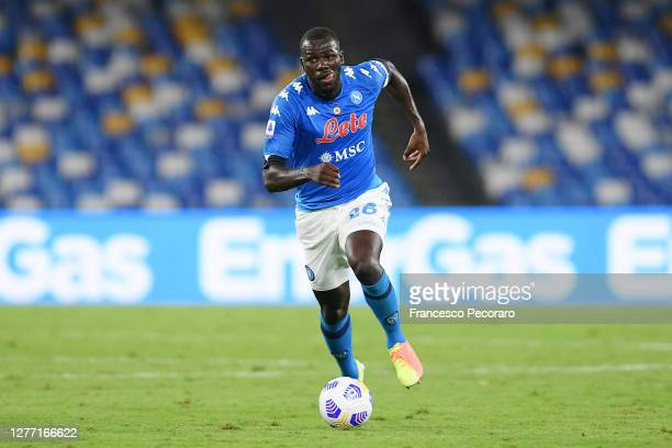 Kalidou Koulibaly of SSC Napoli during the Serie A match between SSC Napoli and Genoa CFC at Stadio San Paolo on September 27, 2020 in Naples, Italy.