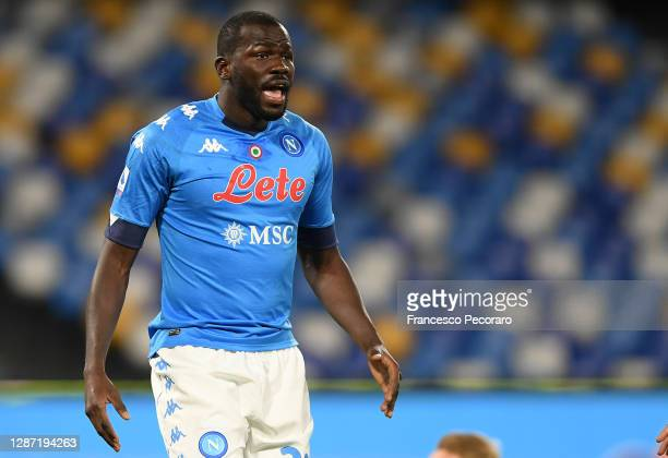 Kalidou Koulibaly of SSC Napoli during the Serie A match between SSC Napoli and AC Milan at Stadio San Paolo on November 22, 2020 in Naples, Italy.
