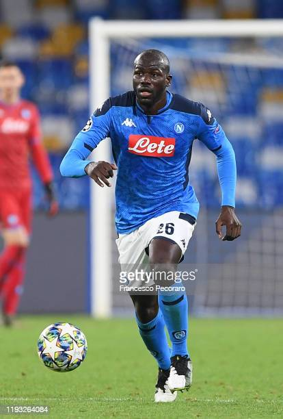 Kalidou Koulibaly of SSC Napoli during the UEFA Champions League group E match between SSC Napoli and KRC Genk at Stadio San Paolo on December 10,...
