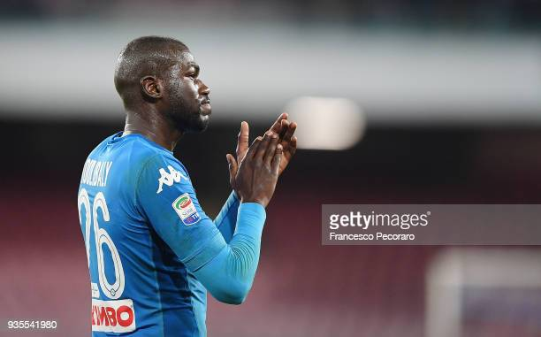 Kalidou Koulibaly of SSC Napoli gestures during the serie A match between SSC Napoli v Genoa CFC at Stadio San Paolo on March 18 2018 in Naples Italy