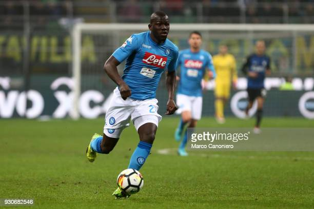 Kalidou Koulibaly of Ssc Napoli in action during the Serie A football match between Fc Internazionale and Ssc Napoli The final score was 00