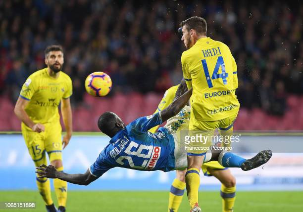 Kalidou Koulibaly of SSC Napoli in action during the Serie A match between SSC Napoli and Chievo Verona at Stadio San Paolo on November 25 2018 in...