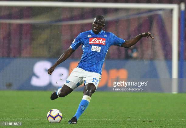 Kalidou Koulibaly of SSC Napoli in action during the Serie A match between SSC Napoli and Atalanta BC at Stadio San Paolo on April 22, 2019 in...