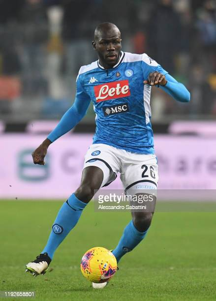 Kalidou Koulibaly of SSC Napoli in action during the Serie A match between Udinese Calcio and SSC Napoli at Stadio Friuli on December 7, 2019 in...