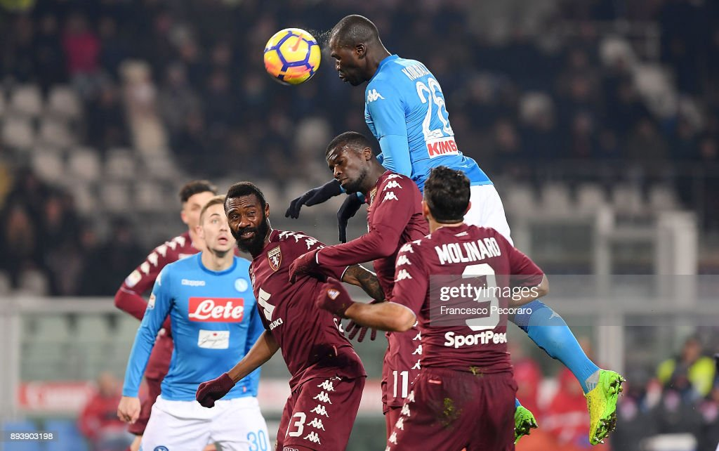 Kalidou Koulibaly of SSC Napoli in action during the Serie A match between Torino FC and SSC Napoli at Stadio Olimpico di Torino on December 16, 2017 in Turin, Italy.